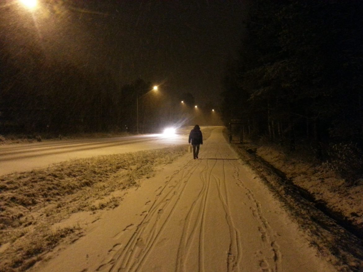 First snow in Vaasa, Finland
